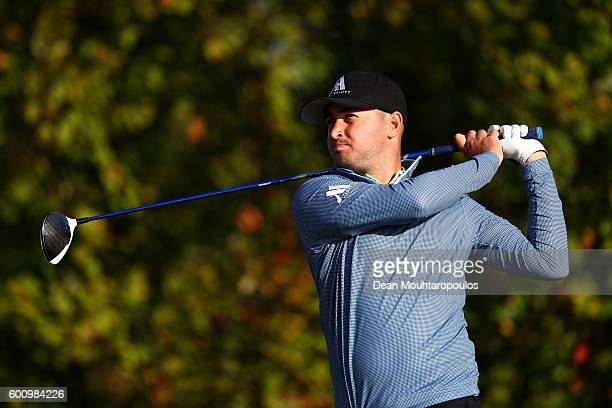 Daniel Brooks of England hits his tee shot on the 6th during the second round on day two of the KLM Open at The Dutch on September 9 2016 in Spijk...