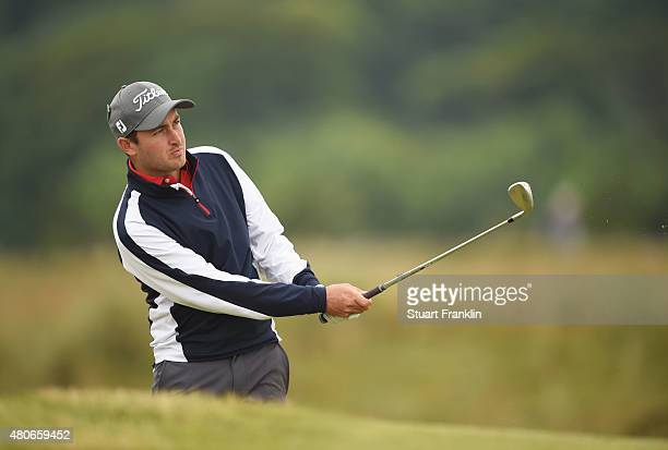 Daniel Brooks of England plays a shot during practice ahead of the 144th Open Championship at The Old Course on July 14 2015 in St Andrews Scotland