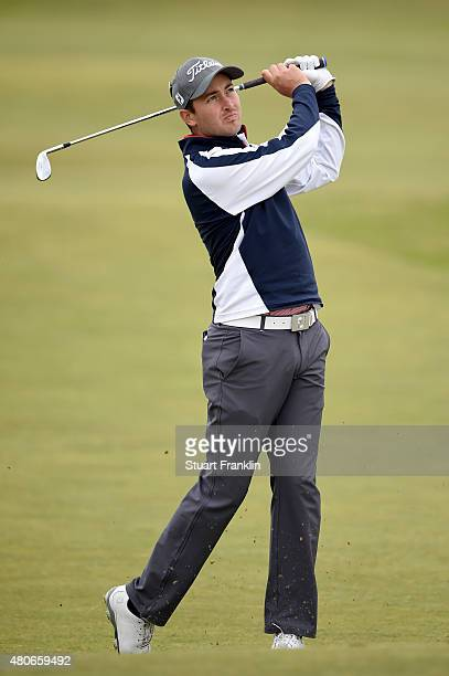 Daniel Brooks of England plays a shot from the fairway during practice ahead of the 144th Open Championship at The Old Course on July 14 2015 in St...