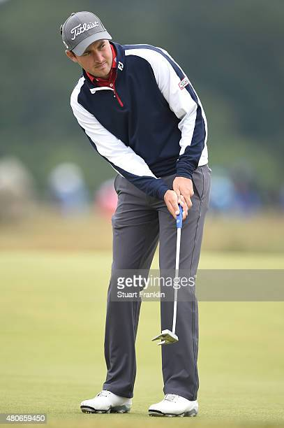 Daniel Brooks of England putts during practice ahead of the 144th Open Championship at The Old Course on July 14 2015 in St Andrews Scotland