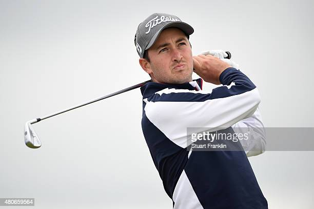 Daniel Brooks of England tees off during practice ahead of the 144th Open Championship at The Old Course on July 14 2015 in St Andrews Scotland
