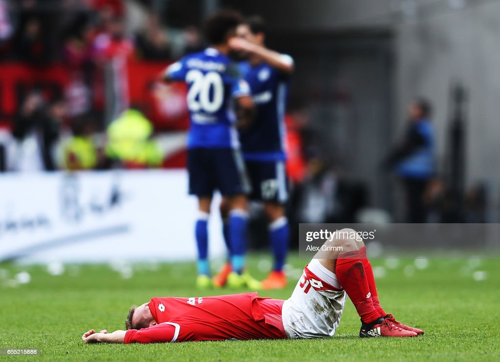 Daniel Brosinski of FSV Mainz 05 is dejected after losing the Bundesliga match between 1. FSV Mainz 05 and FC Schalke 04 at Opel Arena on March 19, 2017 in Mainz, Germany.