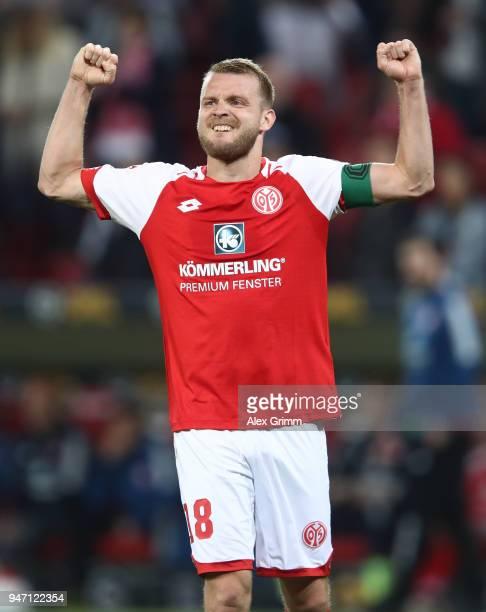Daniel Brosinski of Mainz celebrates after the Bundesliga match between 1 FSV Mainz 05 and SportClub Freiburg at Opel Arena on April 16 2018 in Mainz...