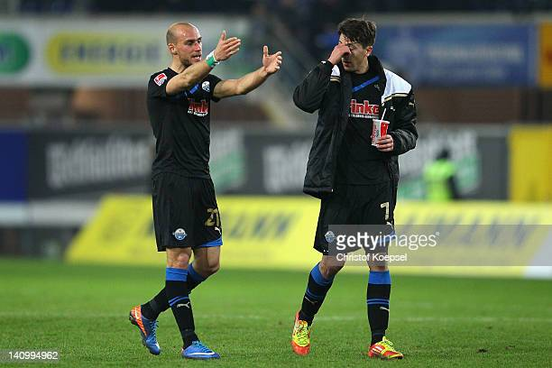 Daniel Brueckner and Jens Wemmer of Paderborn look dejected after the 00 draw of the Second Bundesliga match between SC Paderborn and VfL Bochum at...