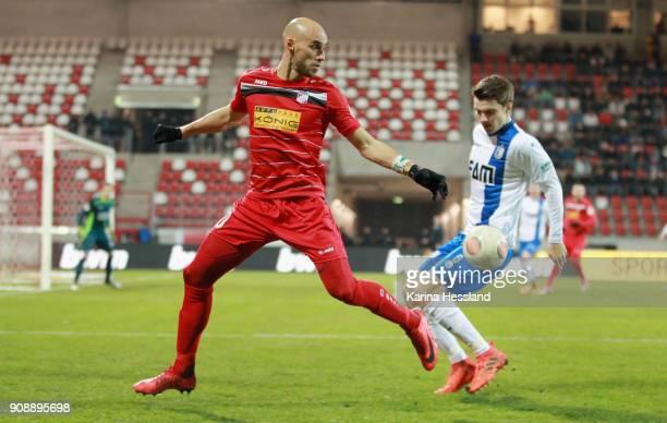 Daniel Brueckner of Erfurt challenges Bjoern Rother of Magdeburg during the 3Liga match between FC Rot Weiss Erfurt and 1FC Magdeburg at Arena Erfurt...