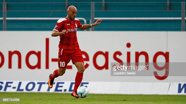 Daniel Brueckner of Erfurt during the third league match between SF Lotte and RotWeiss Erfurt at Frimo Stadion on August 12 2016 in Lotte Germany