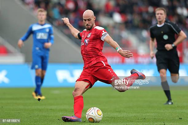 Daniel Brueckner of Erfurt kicks the ball during the Third League match between FC Rot Weiss Erfurt and 1 FC Magdeburg at Steigerwald stadium on...