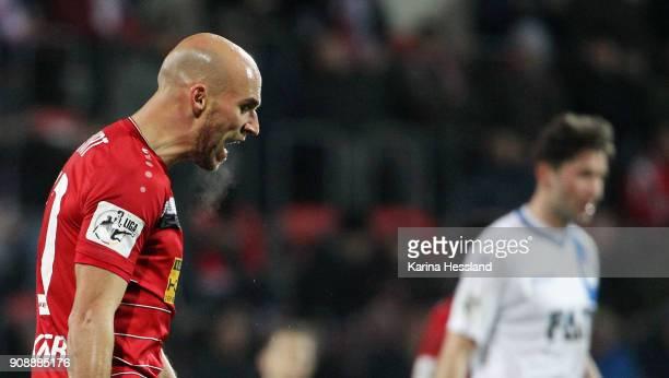 Daniel Brueckner of Erfurt reacts during the 3Liga match between FC Rot Weiss Erfurt and 1FC Magdeburg at Arena Erfurt on January 22 2018 in Erfurt...