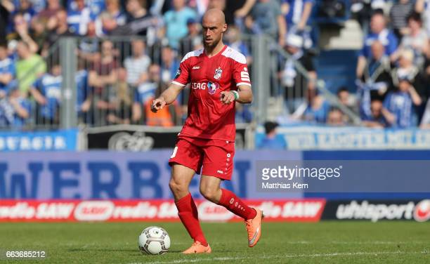 Daniel Brueckner of Erfurt runs with the ball during the third league match between 1FC Magdeburg and Rot Weiss Erfurt at MDCC Arena on April 1 2017...