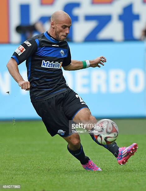 Daniel Brueckner of Paderborn kicks the ball during the Bundesliga match between SC Paderborn and FSV Mainz 05 at Benteler Arena on August 24 2014 in...