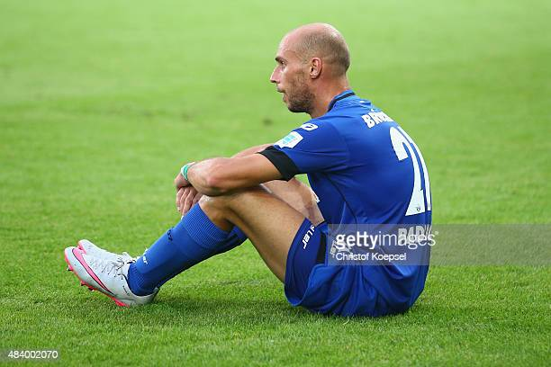 Daniel Brueckner of Paderborn looks dejected after losing the 2 Bundesliga match between SC Paderborn and SV Sandhausen at Benteler Arena on August...