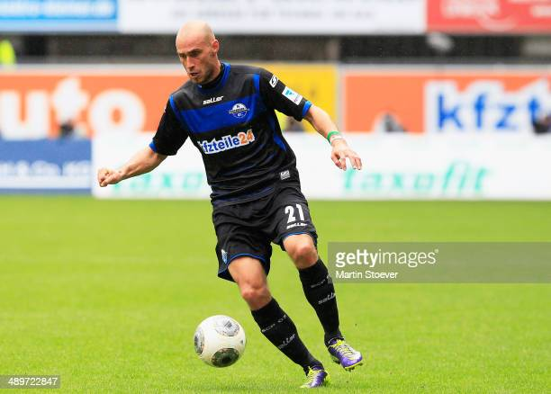 Daniel Brueckner of Paderborn plays the ball during the match between SC Paderborn and VFR Aalen at Benteler Arena on May 11 2014 in Paderborn Germany