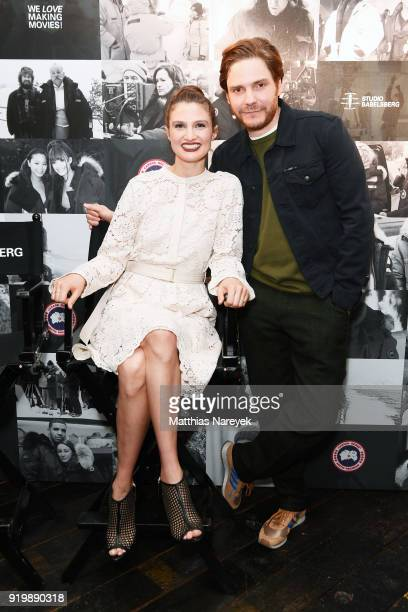 Daniel Bruehl and his girlfriend Felicitas Rombold attend the Studio Babelsberg Night X Canada Goose on the occasion of the 68th Berlinale...