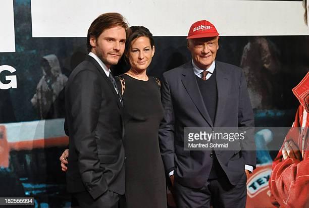 Daniel Bruehl Birgit Lauda Niki Lauda attend the Austria premiere of the film 'Rush' at Gartenbaukino on September 30 2013 in Vienna Austria
