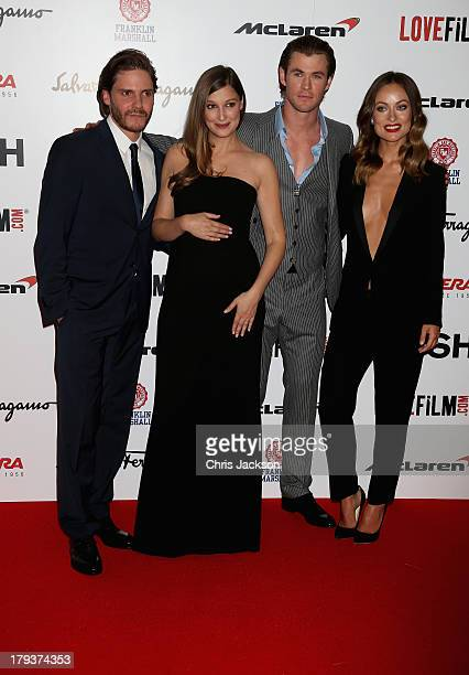Daniel Bruhl Alexandra Maria Lara Chris Hemsworth and Olivia Wilde attend the Rush World Premiere at Odeon Leicester Square on September 2 2013 in...