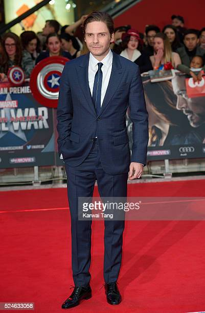 Daniel Bruhl arrives for the European film premiere of 'Captain America Civil War' at Vue Westfield on April 26 2016 in London England