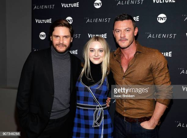 "Daniel Bruhl Dakota Fanning and Luke Evans arrive at a screening of ""The Alienist"" presented by Vulture + TNT during Sundance Film Festival 2018 on..."