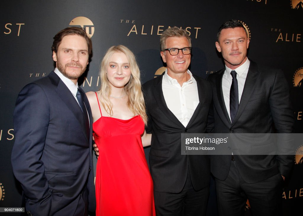 Daniel Bruhl, Kevin Reilly, Dakota Fanning and Luke Evans attend the premiere of TNT's 'The Alienist' on January 11, 2018 in Los Angeles, California.