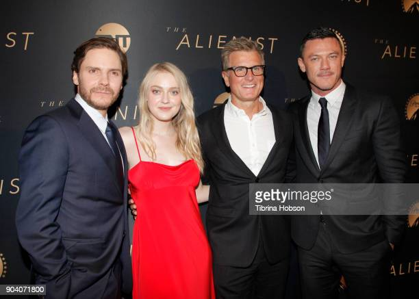 Daniel Bruhl Kevin Reilly Dakota Fanning and Luke Evans attend the premiere of TNT's 'The Alienist' on January 11 2018 in Los Angeles California