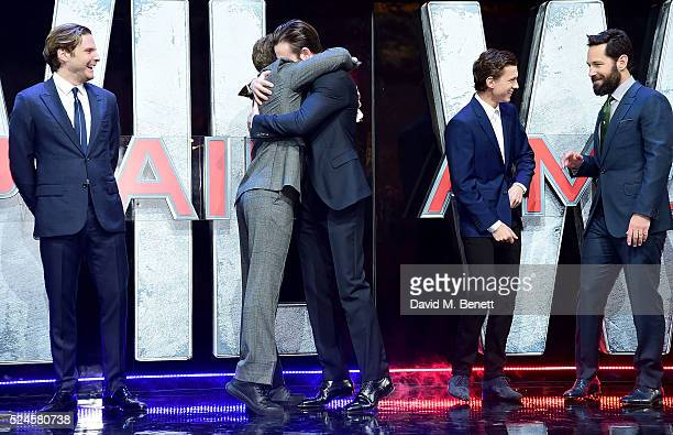 Daniel Bruhl Robert Downey Jr Chris Evans Tom Holland and Paul Rudd attend the European Premiere of 'Captain America Civil War' at Vue Westfield on...