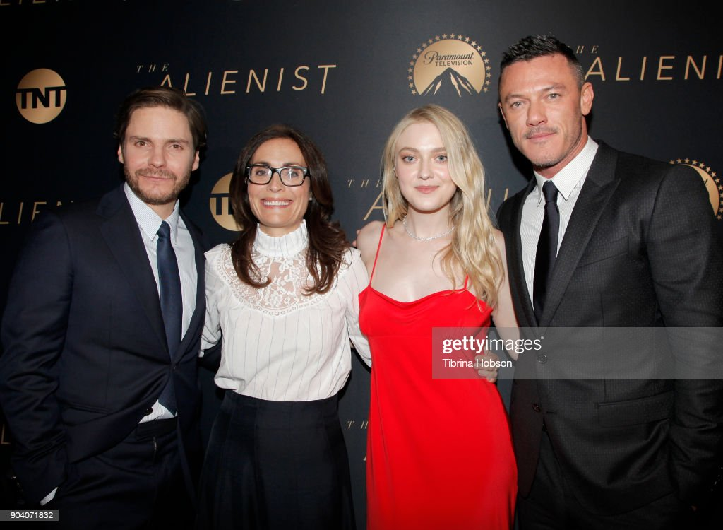 Daniel Bruhl, Sarah Aubrey, Dakota Fanning and Luke Evans attend the premiere of TNT's 'The Alienist' on January 11, 2018 in Los Angeles, California.