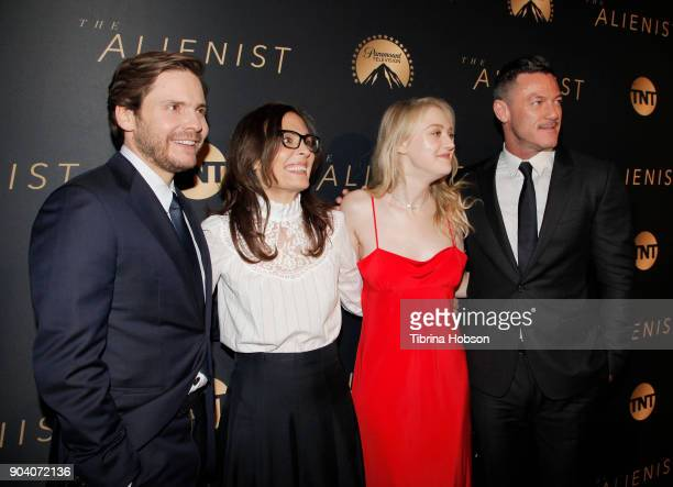 Daniel Bruhl Sarah Aubrey Dakota Fanning and Luke Evans attend the premiere of TNT's 'The Alienist' on January 11 2018 in Los Angeles California