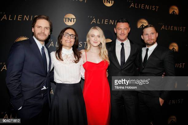 Daniel Bruhl Sarah Aubrey Dakota Fanning Luke Evans and Brian Geraghty attends the premiere of TNT's 'The Alienist' on January 11 2018 in Los Angeles...