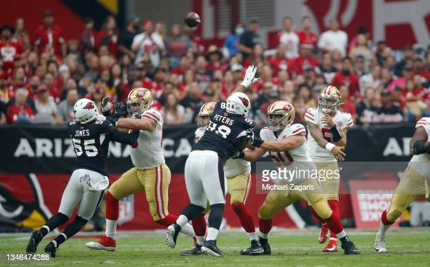 Daniel Brunskill of the San Francisco 49ers bocks during the game against the Arizona Cardinals at State Farm Stadium on October 10, 2021 in...