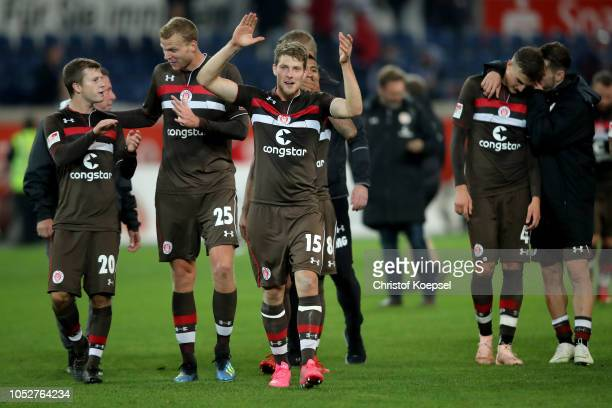 Daniel Buballa of St Pauli and his team celebrates after winning 10 the Second Bundesliga match between MSV Duisburg and FC St Pauli at...