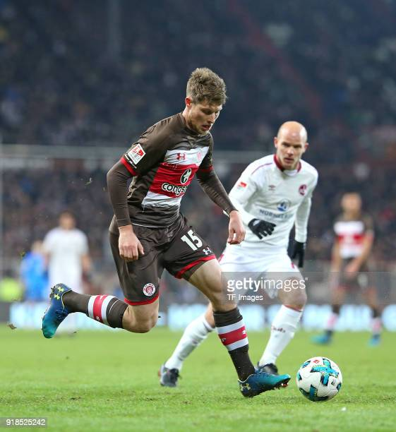 Daniel Buballa of St Pauli and Tobias Werner of Nuernberg battle for the ball during the Second Bundesliga match between FC St Pauli and 1 FC...