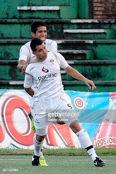 Daniel Buitrago player of Llaneros celebrates after scoring a lastminute goal during a match between America de Cali and Llaneros FC as part of...