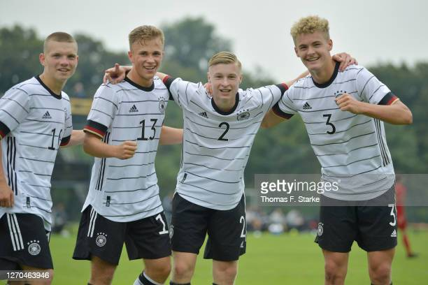 Daniel Bunk, Max Voigt, Julian Eitschberger and Tom Rothe of Germany celebrate during the U17 international friendly match between Germany and...