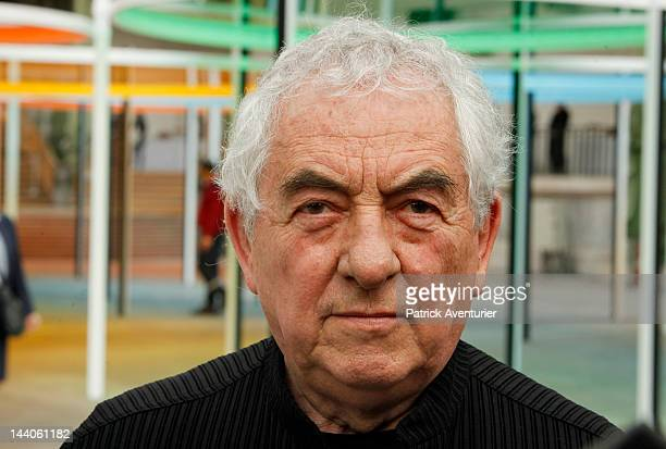 Daniel Buren poses by his ''Monumenta'' temporary installation at the Nave of the Grand Palais on May 9 2012 in Paris France Every year the French...