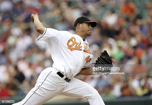 Daniel Cabrera of the Baltimore Orioles pitches against the Boston Red Sox on May 14, 2008 at Camden Yards in Baltimore, Maryland. The Orioles...