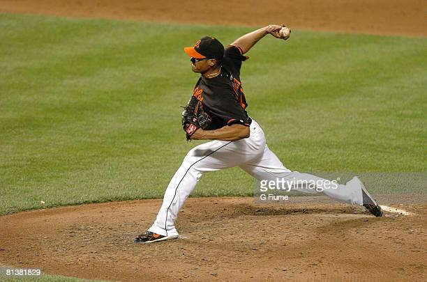 Daniel Cabrera of the Baltimore Orioles pitches against the Boston Red Sox on May 30, 2008 at Camden Yards in Baltimore, Maryland.
