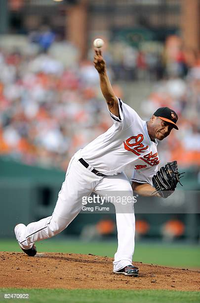 Daniel Cabrera of the Baltimore Orioles pitches against the Boston Red Sox at Camden Yards August 19, 2008 in Baltimore, Maryland.
