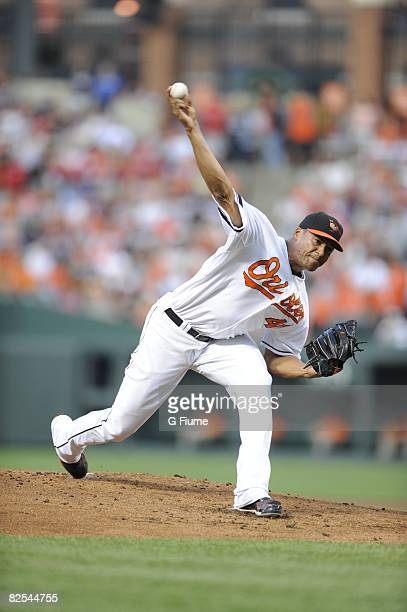 Daniel Cabrera of the Baltimore Orioles pitches against the Boston Red Sox on August 19, 2008 at Camden Yards in Baltimore, Maryland.