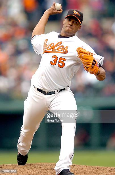 Daniel Cabrera of the Baltimore Orioles pitches against the Detroit Tigers in the Orioles' home opener at Camden Yards April 9, 2007 in Baltimore,...