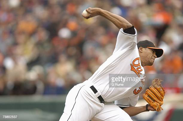 Daniel Cabrera of the Baltimore Orioles pitches against the Detroit Tigers during the home opener at Camden Yards April 9, 2007 in Baltimore,...