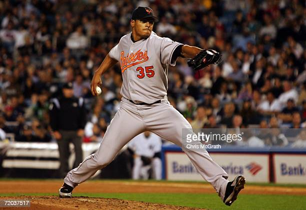 Daniel Cabrera of the Baltimore Orioles pitches against the New York Yankees on September 28, 2006 at Yankee Stadium in the Bronx Borough of New York...