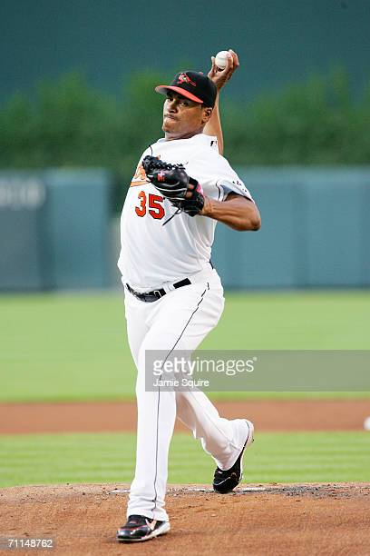 Daniel Cabrera of the Baltimore Orioles pitches against the Toronto Blue Jays at Oriole Park at Camden Yards on June 5, 2006 in Baltimore, Maryland....