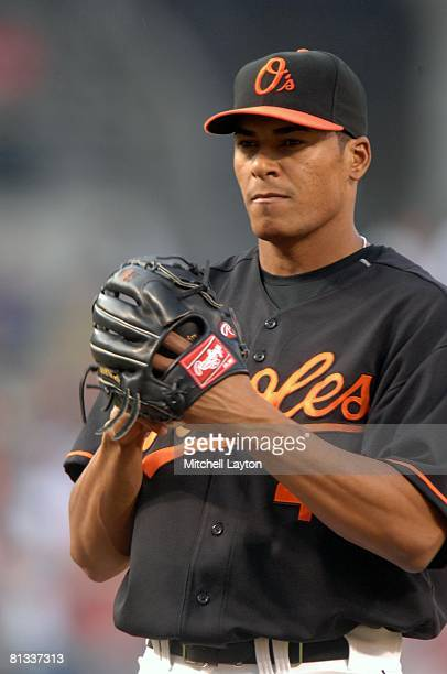 Daniel Cabrera of the Baltimore Orioles pitches during a baseball game against the Boston Red Sox on May 30, 2008 at Camden Yards in Baltimore,...