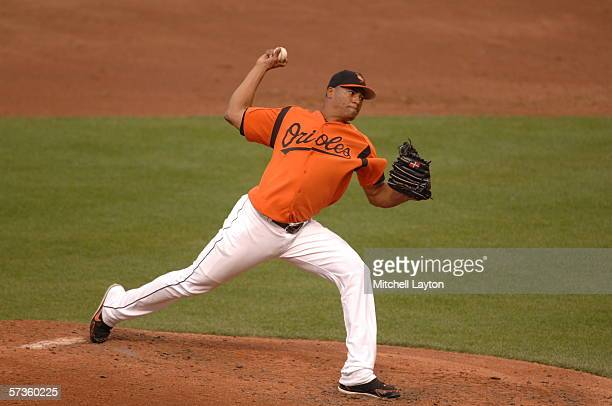 Daniel Cabrera of the Baltimore Orioles pitches during an exhibition game against the Washington Nationals on April 1, 2006 at Oriole Park at Camden...