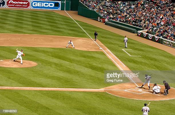 Daniel Cabrera of the Baltimore Orioles throws the first pitch of the Orioles home opener against the Detroit Tigers at Camden Yards April 9, 2007 in...