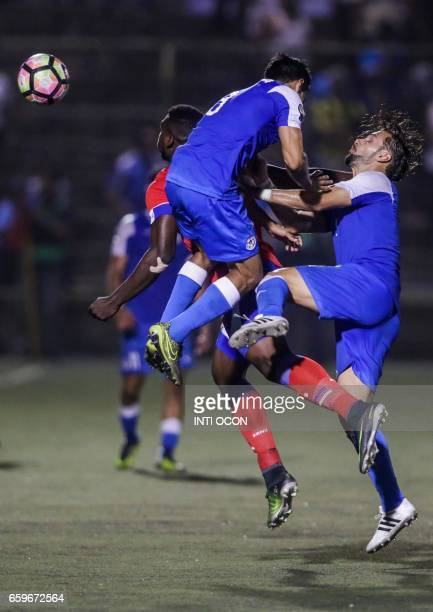 Daniel Cadena fights for the ball with Dukens Nazon of the Haiti National Football Team during the second match to define the last qualified to the...