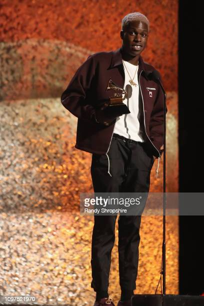 Daniel Caesar accepts award for Best RB Performance onstage at the 61st Annual GRAMMY Awards Premiere Ceremony at Microsoft Theater on February 10...