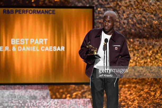 Daniel Caesar accepts the award for Best RB Performance onstage at the premiere ceremony during the 61st Annual GRAMMY Awards at Microsoft Theater on...