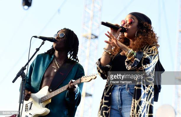 Daniel Caesar and HER perform onstage during the 2018 Coachella Valley Music And Arts Festival at the Empire Polo Field on April 13 2018 in Indio...