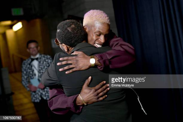 Daniel Caesar celebrates backstage at the 61st Annual GRAMMY Awards Premiere Ceremony at Microsoft Theater on February 10 2019 in Los Angeles...