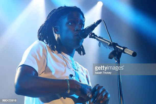 Daniel Caesar performs during the 2018 Montreal International Jazz Festival at MTELUS on July 2 2018 in Montreal Canada